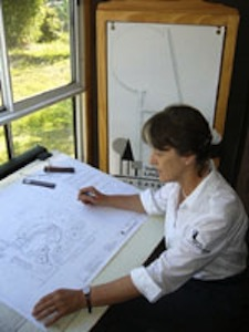 Eva - creating in her garden studio